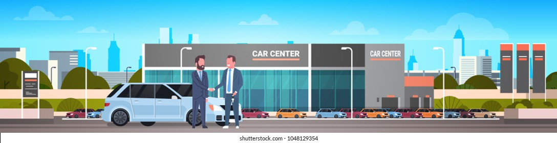 Purchase Sale Or Rental Center Seller Man Giving Keys To Owner Car Showroom Background Horizontal Banner
