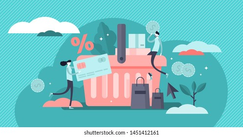 Purchase vector illustration. Flat tiny customer buy products persons concept. Percentage promotion symbol in online store. Consumer transaction for deal order. Checkout with payment for trade service