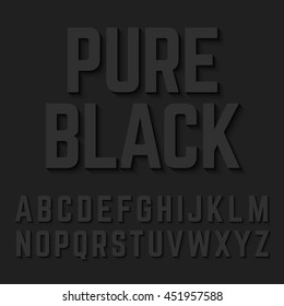 Pure Black alphabet letters with shadow