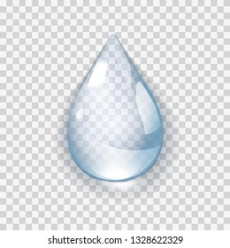 Pure clear Realistic Water Drop isolated on transperent background vector illustration. Raindrop on the window glass with reflections