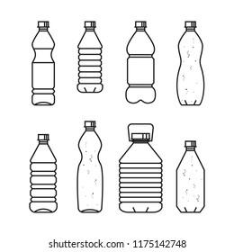 Pure drinking water. Line vector illustration of set of plastic bottles. Black bottles isolated on white background.