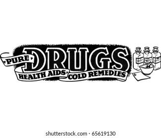 Pure Drugs, Health Aids - Ad Banner - Retro Clipart