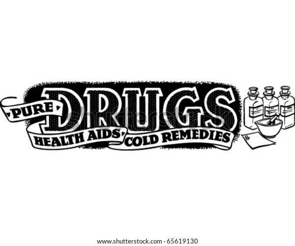 Pure Drugs Health Aids Ad Banner Stock Vector Royalty Free 65619130
