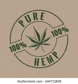 Pure Hemp Stamp Style Logo with Hand Drawn Seven Blades Cannabis or Marijuana Leaf 100% Figure - Green Elements on Beige Canvas Background - Vector Contrast Graphic Design