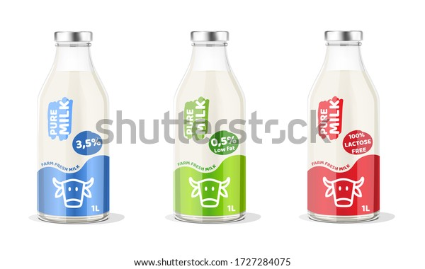 Pure Milk Bottle. Vector Illustration.