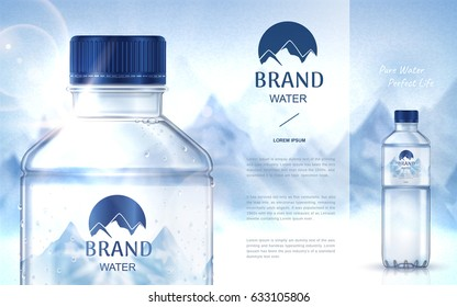 pure mineral water ad, with bottle close up on the left side and smaller bottle on the right side, snow mountain background 3d illustration