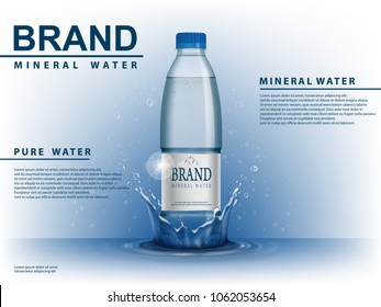 Pure mineral water ad, plastic bottle with water drop elements on blue background. Transparent Drinking water Bottle with your brand for ads or magazine design. 3d vector illustration.