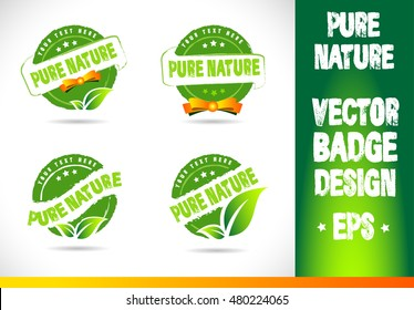 Pure nature Badge Vector Logobadge label seal stamp logo text design green leaf template vector eps