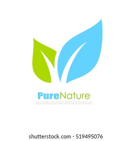Pure nature leaf logo vector illustration isolated on white background