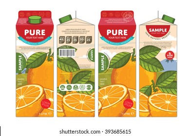 Pure orange juice. Cardboard packaging template design illustration. Exotic tropical drink in vector carton container. Natural organic orange juice pack layout isolated on white background