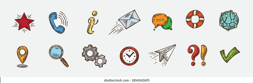 Pure Series Hand drawn Communication , Network icon set Internet icons collection. Engraving vector illustration. Pop art style