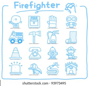 Pure series   Hand drawn firefighter,fireman,emergency icon set