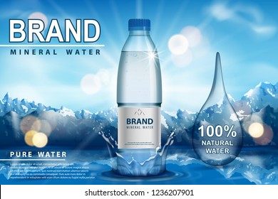Pure sparkling water ad, plastic bottle with splash on snow with mountain background. Transparent Drinking water liquid Bottle design. 3d vector