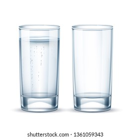 Pure water with bubbles glass on transparent background. Crystal clear drink container. Fresh water, juice or alcohol beverage glass realistic tableware. Vector mineral water product package design.