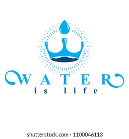 Pure water vector abstract logo created in the shape of royal crown. Business emblem best for use in mineral water advertising.