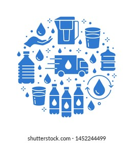 Pure water vector circle banner with flat glyph icons. Aqua filter, potable liquid, glass, office cooler vector illustrations. Silhouette signs for bottle delivery.