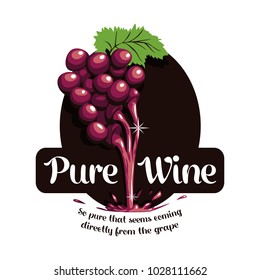 Pure Wine Grapes Liquid Logo Fruit Splash Alcohol Bar Vine