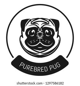 Purebred pug logo icon. Simple illustration of Purebred pug logo vector icon for web design isolated on white background