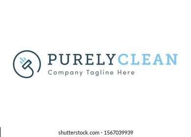 Purely Clean - Premium, Modern & Bold Uppercase Slab Serif Cleaning Company Graphic Brand Identity Logo Vector Template with Light Baby Blue & Dark Blue Simple & Minimal Vacuum Cleaner Badge Line Icon