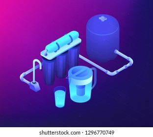 Purification filters cleansing liquid by lowering contamination. Water filtering system, home water treatment, water delivery service concept. Ultraviolet neon vector isometric 3D illustration.