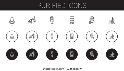 purified icons set. Collection of purified with water, water dispenser, water tank, watering. Editable and scalable purified icons.