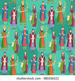 Purim. Book of Esther characters and heroes: Achashveirosh, Mordechai, Esther, Haman. Seamless background pattern. Vector illustration