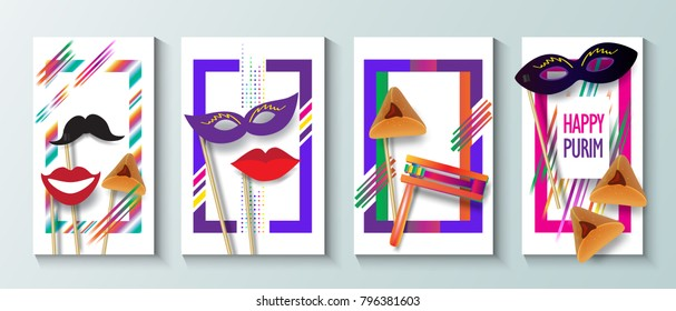 Purim celebration concept greeting poster, Jewish Holiday festive abstract design banners set, traditional symbols, noisemaker grogger, ratchet, hamantaschen cookies, masque paper cut art, Israel fest