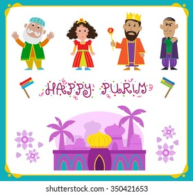 Purim Characters - Cute Purim holiday characters and a Persian city. Eps10