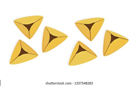 Purim cookies, set of traditional holiday hamantaschen cookies, hamantash cookies, Jewish holiday of Purim, isolated on white background
