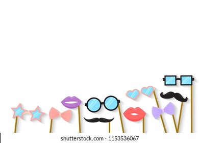 Purim holiday concept with cardboard carnival mask. vector template