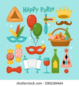Purim holiday elements set for graphic and web design