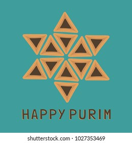 """Purim holiday flat design icons of hamantashs in star of david shape with text in english """"Happy Purim"""". Vector eps10 illustration."""