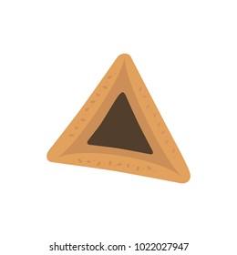 Purim holiday hamantash with chocolate  flat design icon. Vector eps10 illustration.
