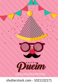 Purim,  holiday Purim with masks and traditional props