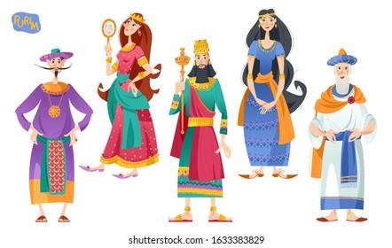 Purim. Jewish holiday. Book of Esther characters and heroes: Achashveirosh, Mordechai, Esther, Haman, Vashti. Vector illustration
