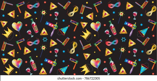 Purim jewish holiday seamless pattern traditional purim symbols, noisemaker, masque, gragger, hamantaschen cookies, crown, star david, clown, festival decoration, carnival, vector festive background