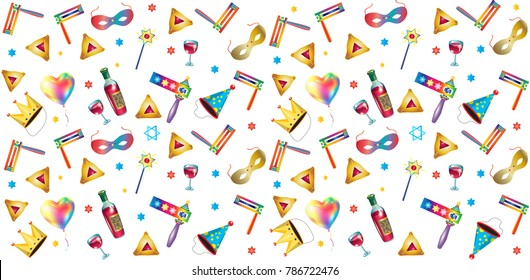 Purim jewish holiday seamless pattern traditional purim symbols, noisemaker, masque, gragger, hamantaschen cookies, crown, star david, clown, festival decoration, carnival vector festive background