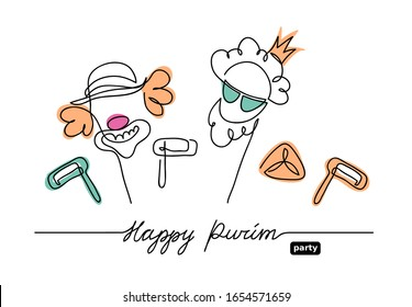 Íappy Purim simple, minimalistic vector background. One continuous line drawing, illustration, background. Lettering Íappy Purim.