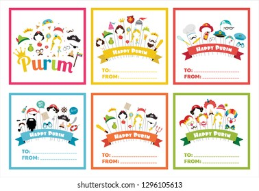 Purim tags set, can be used for purim basket- Mishloach manot- vector illustration