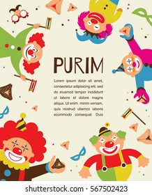purim template design, Jewish holiday vector illustration