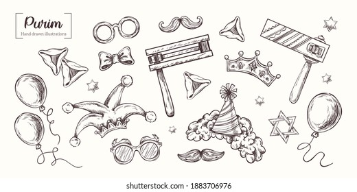 Purim. Vector Hand Drawn. Sketch Illustration. Jewish Holiday, traditional purim symbols, noisemaker, masque, gragger, hamantaschen cookies, crown, star of david, festival decoration, carnival vector