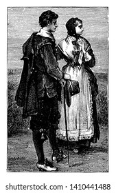 Puritan Costumes which was a religious reform movement that arose within the Church of England in the late sixteenth century, vintage line drawing or engraving illustration.