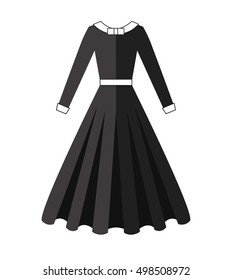 Puritan dress. Black wear. Long skirt vector illustration.