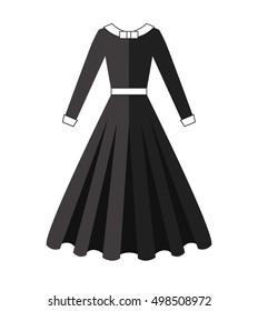 Puritan dress. Black wear. Long skirt vector illustration.