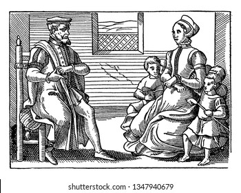 A Puritan family, vintage line drawing or engraving illustration