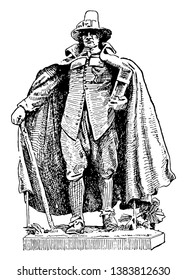 The Puritan was made by St. Gaudens, vintage line drawing or engraving illustration.