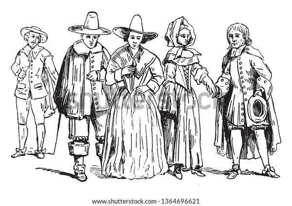 Puritans in mid 17th century who sought to purify the Church of England from all Roman Catholic practices, vintage line drawing or engraving illustration.