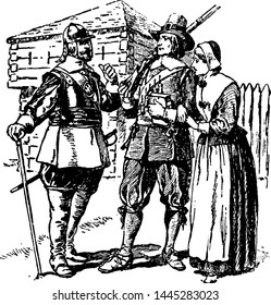 Puritans, vintage engraved illustration drawing