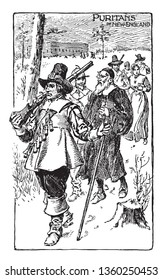 Puritans were a group of English Reformed Protestants,vintage line drawing or engraving illustration.