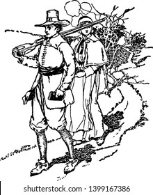 Puritans where a man and woman in Puritan dress walking down a path, vintage line drawing or engraving illustration.